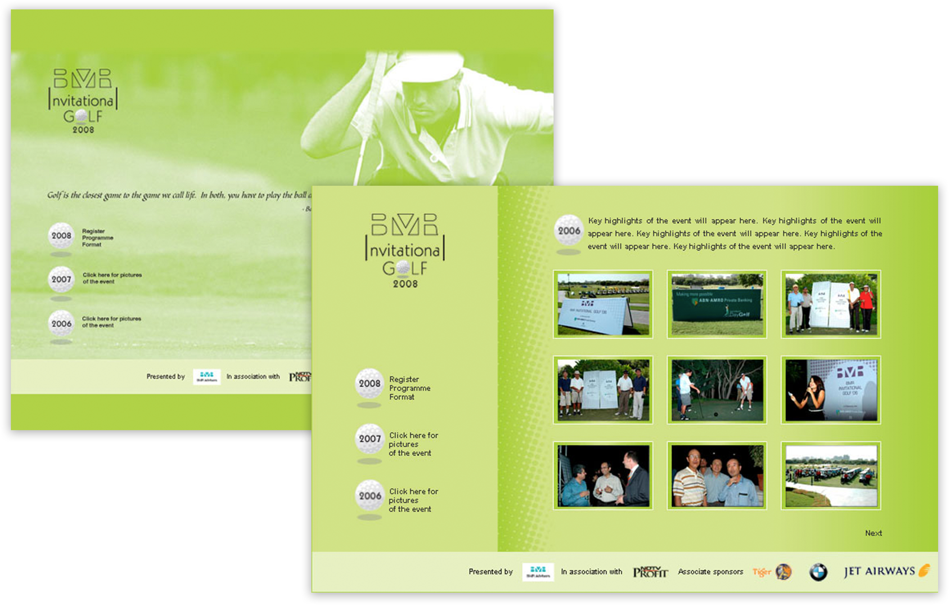 Information Provider For Golf Events